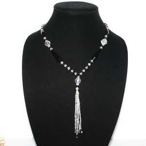 Beautiful vintage crystal & black tassel necklace